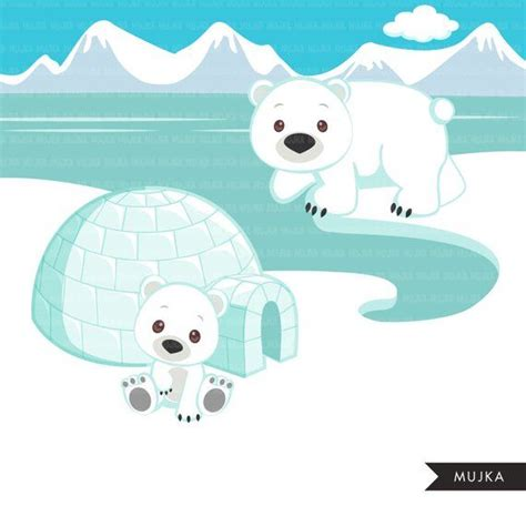 arctic animals clipart cute winter animals igloo whale
