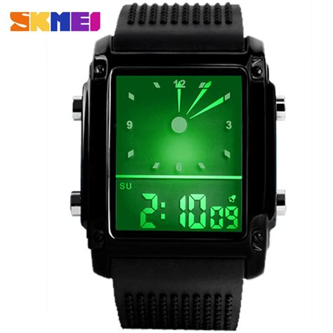 Skmei Unlock 0814 Original Water Resistant 30m Brown White Terbaru D mens sports quartz digital rectangular