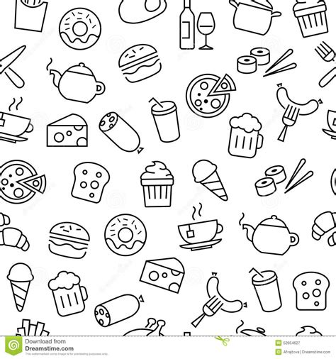tumblr icon pattern seamless pattern with food icons stock vector image