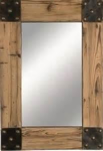 cabin western lodge style wood wall mirror