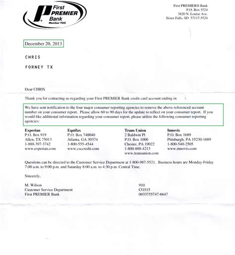 Credit Report Letter Of Deletion Premier Collection Deleted From Credit Report