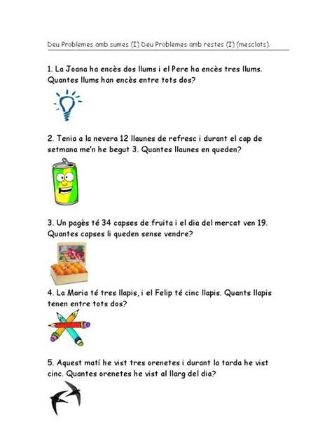 libro tres llums vint problemes de sumes i restes senzills 1