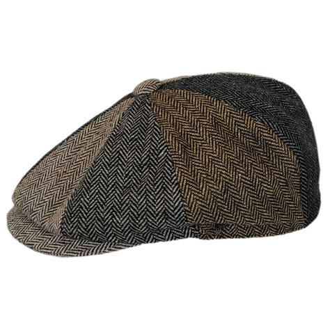Patchwork Newsboy Cap - jaxon hats herringbone patchwork wool blend newsboy cap