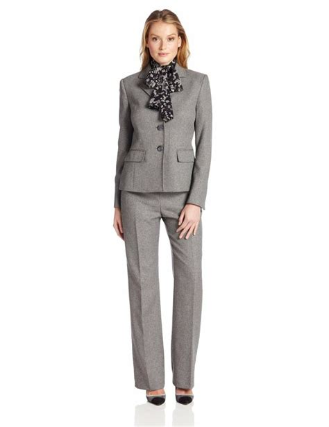 Le suit women s 3 button herringbone notch collar jacket with pant and