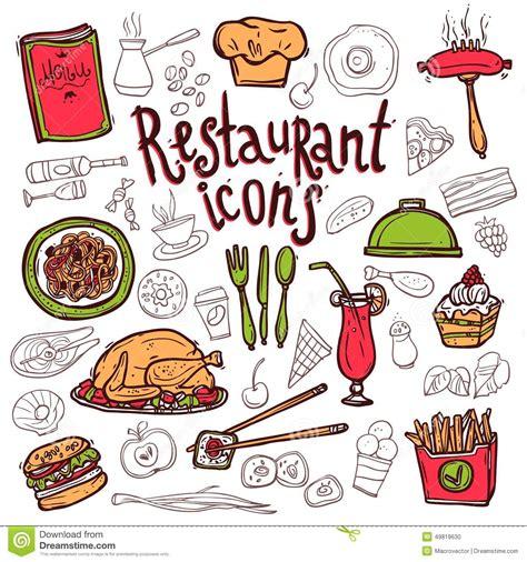 doodle bar food menu restaurant icons doodle symbols sketch stock vector