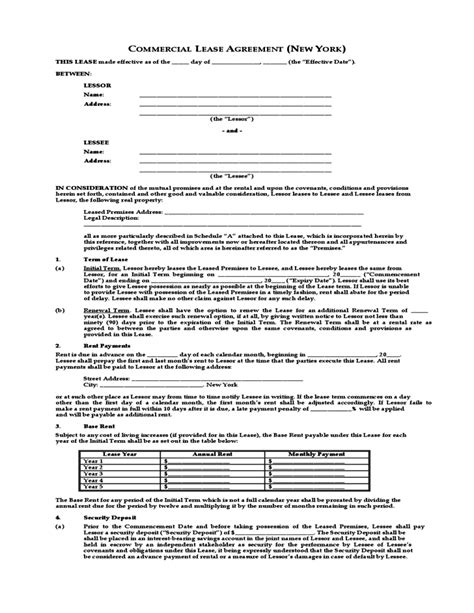 1 Year Lease Agreement Ny by Commercial Lease Agreement New York Free