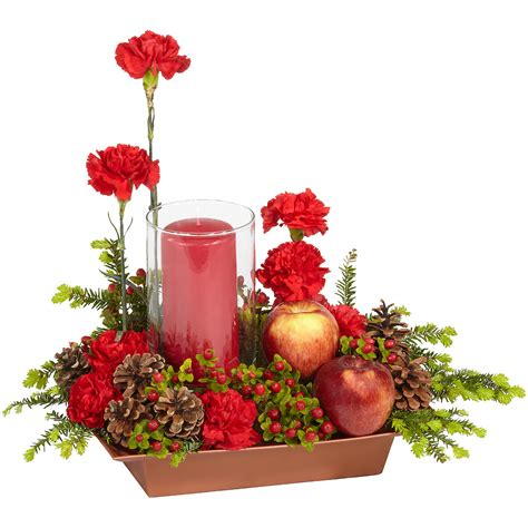 apple berry glow holiday floral centerpiece