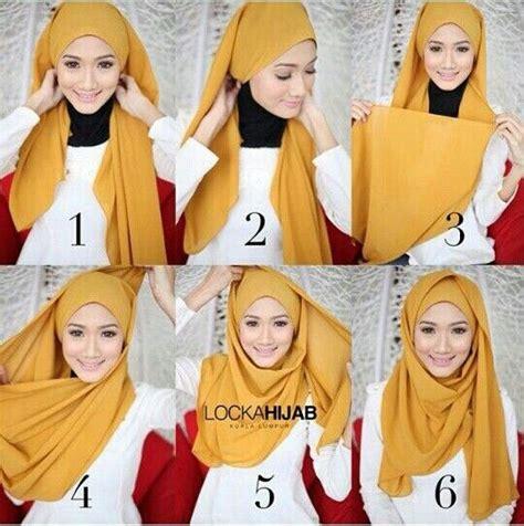 tutorial jilbab segi empat  wajah bulat simple cantik