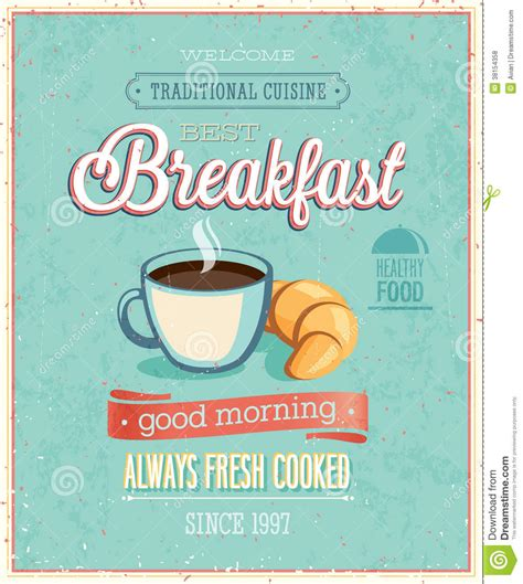 10 X 10 Kitchen Ideas by Vintage Breakfast Poster Stock Vector Illustration Of
