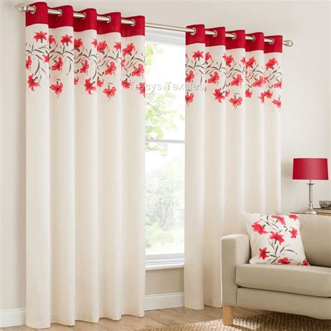 red and teal curtains lily ring top fully lined floral eyelet curtains red blk