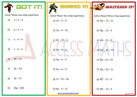 Solving Two Step Equations Worksheet by All Categories Access Maths