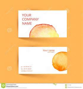 business card template pdf business card template vector watercolor orange stock