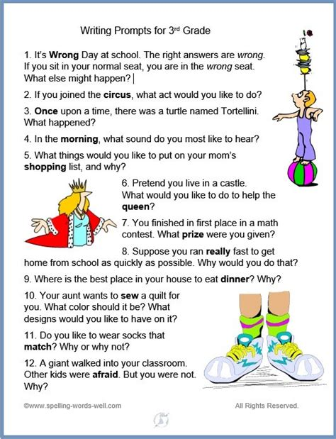 4th grade writing prompts for fun spelling and language practice writing prompts for 3rd grade fun and language practice