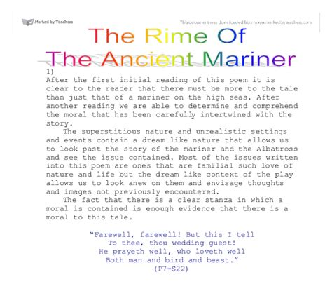Rime Of The Ancient Mariner Analysis Essay by Free Essay On The Rime Of The Ancient Mariner