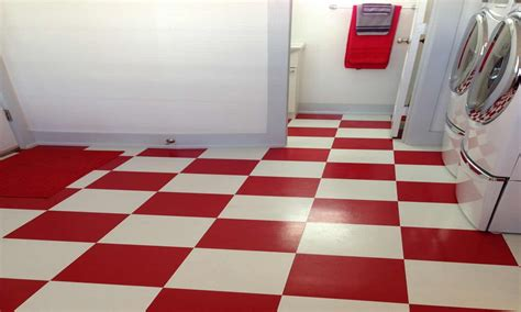 Pics of white kitchen cabinets with tile floors, red and