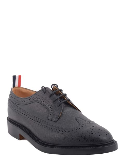 thom shoes thom browne wingtip classic brogue shoes in black for
