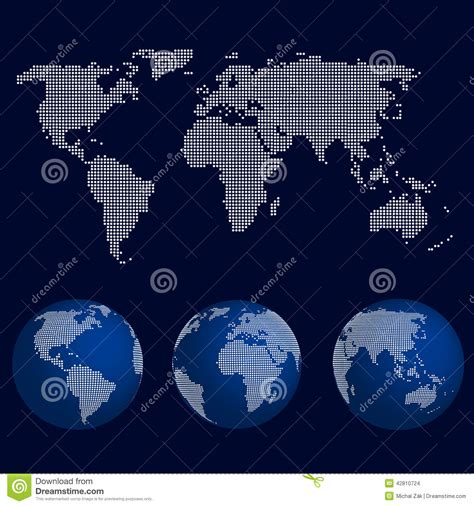 dot pattern globe set of world globes in dot pattern with the map of the