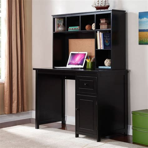 Student Computer Desk With Hutch Piper Desk With Optional Hutch Set Black Www
