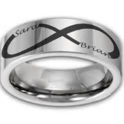 infinity wedding ring 8mm tungsten laser etched custom infinity name ring
