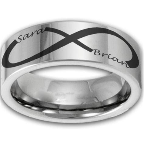 8mm tungsten laser etched custom infinity name ring