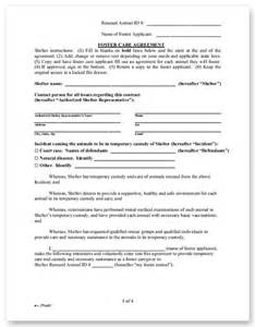Sample Foster Care Agreement   Animal Legal Defense Fund