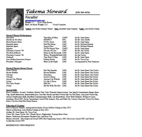 cv with photo template vocal resume takema howardactor vocalist