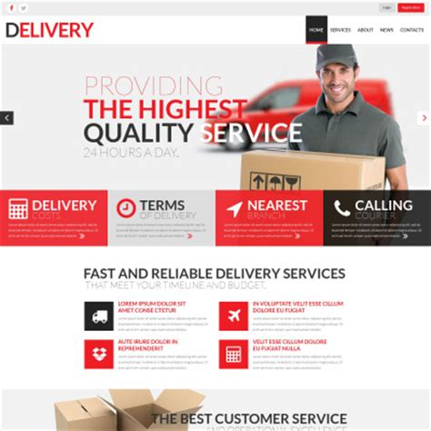 18 Best Delivery Services Website Templates Templatemonster Courier Website Template