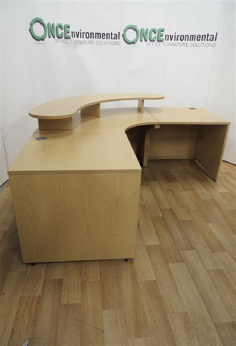 light oak reception desk used desks light oak reception desk with a curved shelf