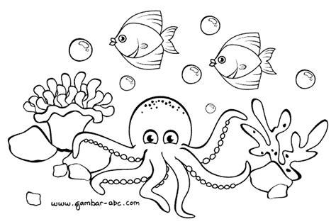 gambar mewarnai pemandangan bawah laut belajar mewarnai