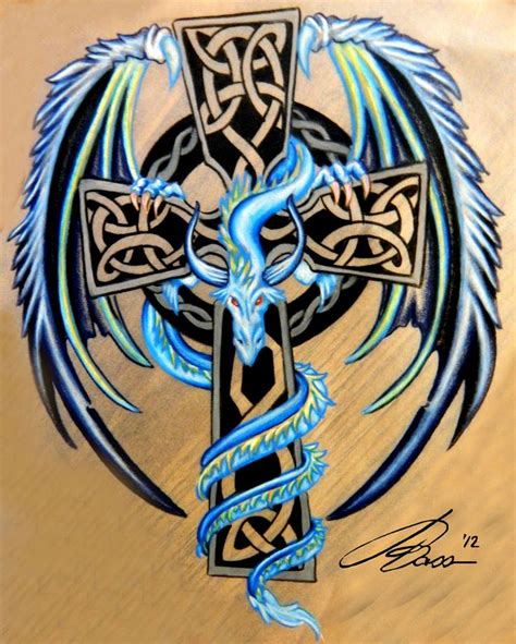 cross and dragon tattoo celtic cross with blue and silver