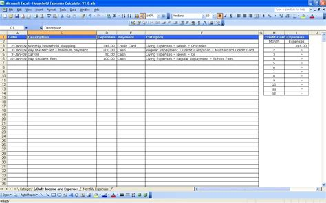 expense list template income and expense spreadsheet template excel