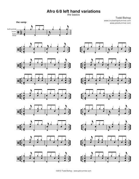 drum pattern variation cruise ship drummer afro 6 8 left hand variations the