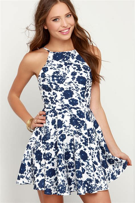 Malisa Flowery Flare Mini Dress floral print dress ivory and navy blue dress skater