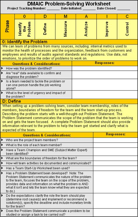 Dmaic Worksheet Qualitytrainingportal Dmaic Template