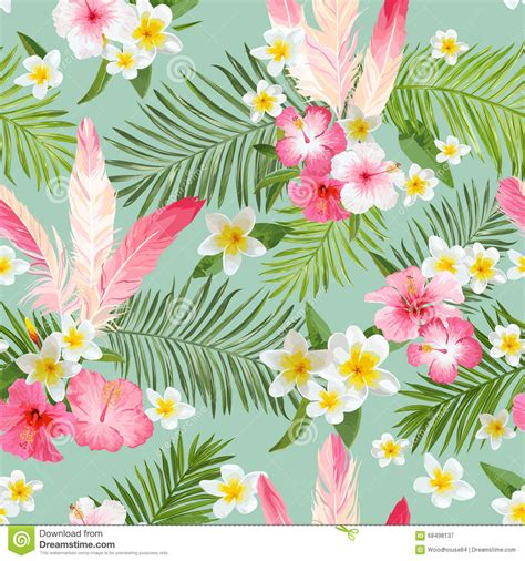Lipstik Transparan Bunga tropical flowers background vintage seamless pattern