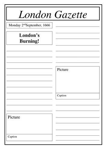newspaper layout tes great fire of london newspaper report writing by