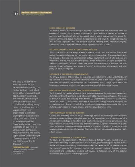 Nus Mba Brochure by Nus Asia Pacific Executive Mba Brochure