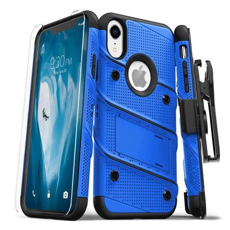 zizo bolt iphone xr tough screen protector blue black