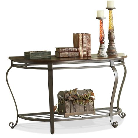 sofa table metal eastview demilune sofa table w metal base by riverside