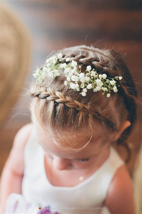flower girl braided hairstyles for weddings baby s breath and braids a sweet hairstyle for the flower