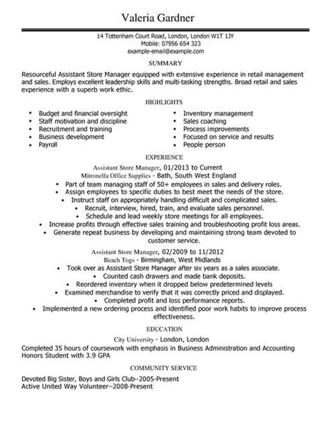 Shop Assistant Sle Resume by Assistant Store Manager Cv Exle For Retail Livecareer