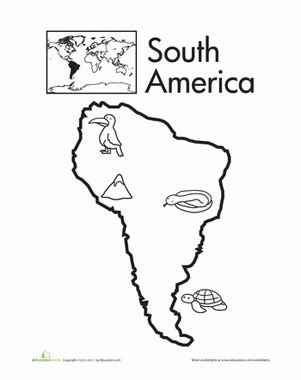 coloring page map of south america color the continents south america worksheet