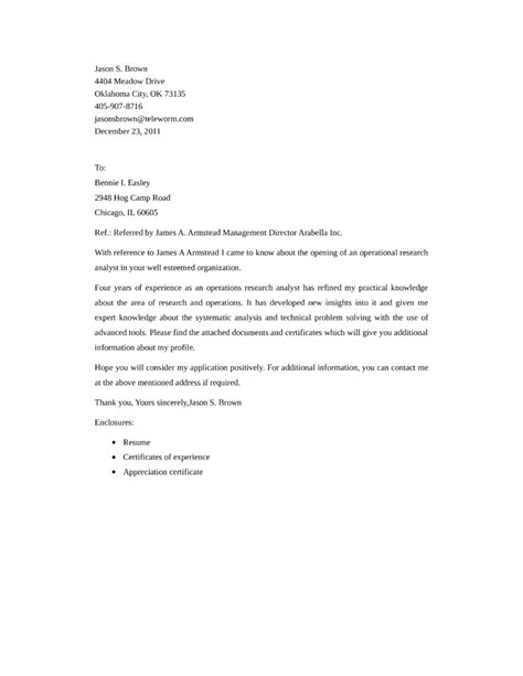 operational research analyst cover letter sles and