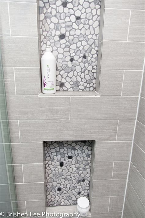 grey pebble tiles bathroom two shower nooks with marble pebbles and horizontal grey