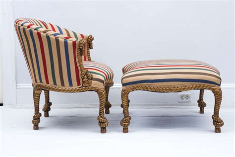 matching ottoman midcentury golden rope chair with matching ottoman for