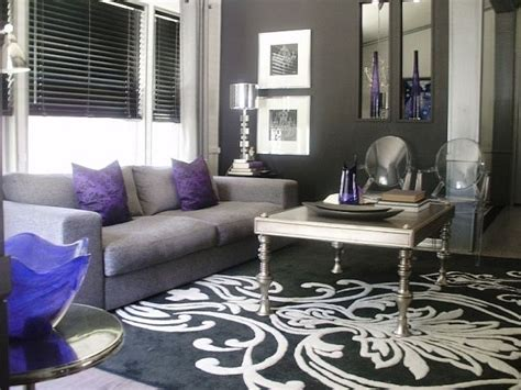 purple and black living room image detail for pops of violet black white and silver