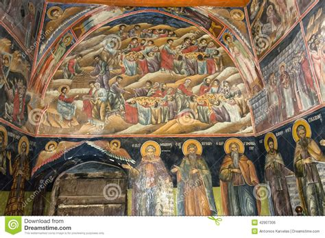 A Painting Within A Painting by Wall Painting Inside Orthodox Church Stock Photo Image