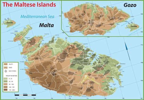 printable road map of malta malta physical map