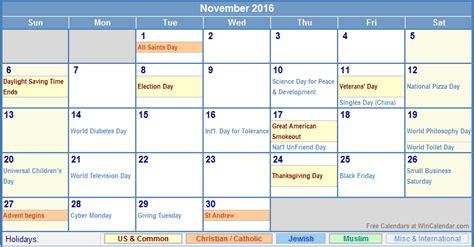 november 2016 calendar printable with holidays november 2016 us calendar with holidays for printing