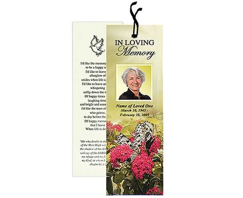 memorial bookmarks bouquet bookmark template add ribbon